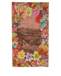 Paul Smith - Brown Multicolour Flower Garland Print Modalblend Scarf - Lyst