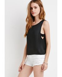 Forever 21 - Black Satin Side-cutout Blouse - Lyst