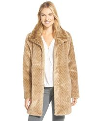 Ellen Tracy | Natural Faux Fur A-line Coat | Lyst