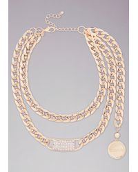 Bebe | Metallic Logo Crystal Id Necklace | Lyst