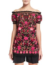 Naeem Khan - Multicolor Off-the-shoulder Embroidered Peasant Blouse - Lyst