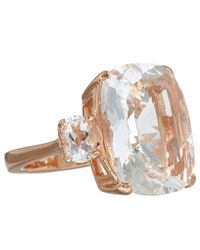 Dinny Hall | Metallic Rose Gold Vermeil Rock Crystal Trinity Ring | Lyst