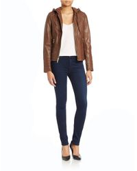 MICHAEL Michael Kors | Brown Hooded Leather Jacket | Lyst