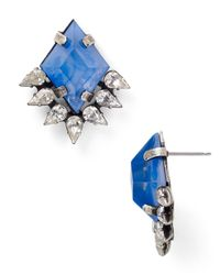 DANNIJO - Metallic Bleu Spiked Stud Earrings - Lyst