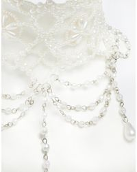 ASOS - Natural Faux Pearl Drop Choker Necklace - Lyst