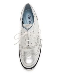 Studio Pollini - Metallic Platform Oxfords - Silver - Lyst