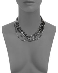 Chan Luu - Black Hematite, Crystal & Sterling Silver Multi-strand Beaded Necklace - Lyst