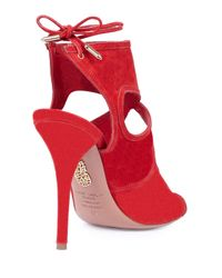 Aquazzura - Red Sexy Thing Suede Cut-Out Pumps - Lyst