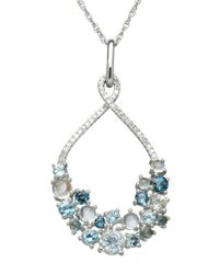 Lord & Taylor | Sterling Silver White Topaz And Multi Blue Topaz Pendant Necklace | Lyst
