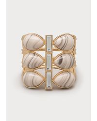 Bebe - White Marbled Stone Stretch Cuff - Lyst