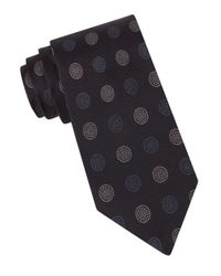 John Varvatos | Black Medallion-print Silk Tie for Men | Lyst