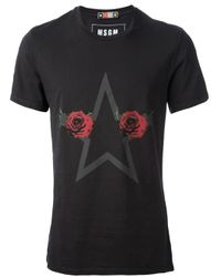 MSGM - Black Rose Star Tshirt for Men - Lyst
