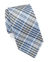 Vince Camuto - Blue Plaid Silk Tie for Men - Lyst
