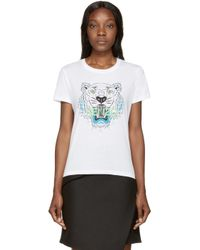 KENZO - White Tiger Logo T_shirt - Lyst