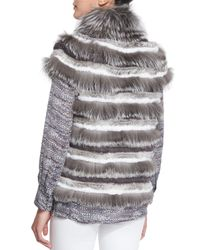Tory Burch - Gray Short Sleeve Fur Jacket - Lyst