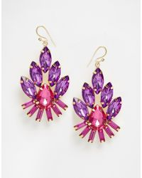 Little Mistress - Purple Multi Stone Drop Earrings - Lyst