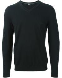 BOSS - Black V-neck Sweater for Men - Lyst