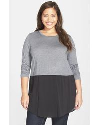 Two By Vince Camuto | Black Mixed Media Crewneck Tunic | Lyst