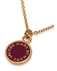 Marc By Marc Jacobs | Metallic Logo Disc-o Burgundy Enamel Necklace | Lyst