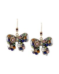 Betsey Johnson | Metallic Woven Cluster Bow Drop Earring | Lyst