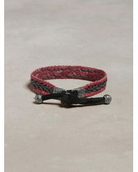 John Varvatos | Metallic Braided Leather Bracelet for Men | Lyst