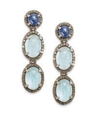 Bavna | Blue Aquamarine Sapphire  Champagne Diamond Triple-drop Earrings | Lyst