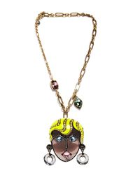 Lanvin - Yellow Women's Visage Pendant Necklace In Brass - Lyst