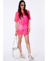 Missguided Neon Pink American Football Mesh T-Shirt in Pink - Lyst 972b17015