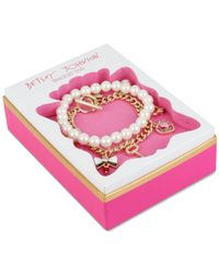 Betsey Johnson - Metallic Gold-tone Charm And Imitation Pearl Stretch Bracelet Set - Lyst