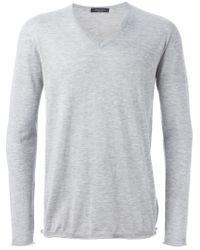Roberto Collina - Gray V Neck Sweater for Men - Lyst