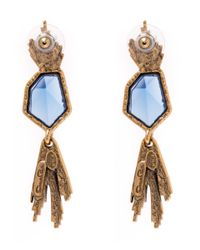 Oscar de la Renta | Blue Gold-plated Tanzanite Wildflower Drop Earrings | Lyst