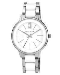 Anne Klein | Metallic Round Plastic Link Bracelet Watch | Lyst