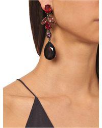 Oscar de la Renta - Red Teardrop Crystal-embellished Earrings - Lyst