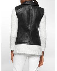 Calvin Klein | Black Jeans Textured Faux Leather Moto Vest | Lyst