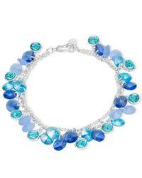 Nine West | Silver-Tone Blue Crystal Shaker Bracelet | Lyst