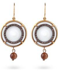 Bottega Veneta - Round Diamant Earrings Natural Brown - Lyst