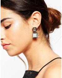 ASOS - Metallic Oversize Stone Drop Earrings - Lyst