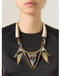 Iosselliani - Metallic 'geometric Floral' Statement Necklace - Lyst