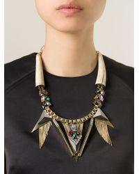 Iosselliani | Metallic 'geometric Floral' Statement Necklace | Lyst