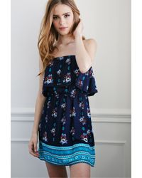 Forever 21 | Blue Flounced Floral Dress | Lyst