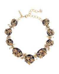 Oscar de la Renta - Metallic Resin Filigree Collar Necklace - Lyst