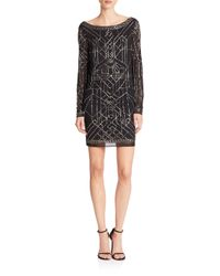 Laundry by Shelli Segal | Black Platinum Athena Beaded Mesh Cocktail Dress | Lyst