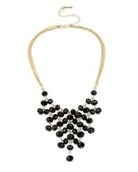 Kenneth Cole | Black Faceted Bead Bib Necklace | Lyst