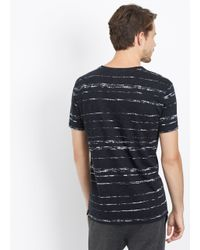 Vince | Black Slub Cotton Shadow Stripe V-neck Tee for Men | Lyst