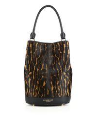 Burberry - Brown Leopard-print Calf Hair Bucket Bag - Lyst