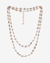 Ted Baker - Black Long Crystal Row Necklace - Lyst