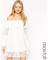 ASOS - White Swing Dress With Gypsy Shoulder Detail And Lace Insets - Lyst