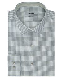 DKNY   Green Slim-Fit Check Dress Shirt for Men   Lyst