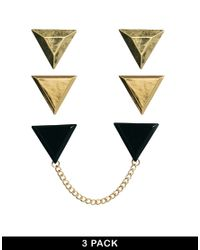 ASOS - Metallic Triangle Collar Tip Pack with Chain for Men - Lyst