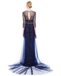 Marchesa | Blue Embroidered Gown with Tulle Skirt Overlay | Lyst